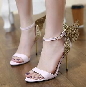About Butterfly Shoes Ankle Details Party High Size Strap Sandal Wings Wedding Womens Heels rdCBeWExQo