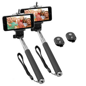 Doppelpack-NINETEC-Picturesmart-Selfie-Stick-Bluetooth-Ausloeser-fuer-IOS-Andr