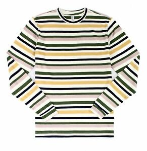 American-Apparel-Mens-T-Shirt-Blue-Size-Small-S-Striped-Long-Sleeve-Tee-30-139