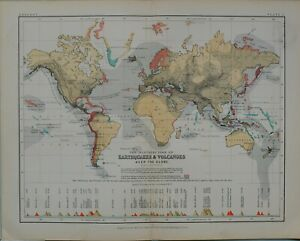 1880-MAP-WORLD-DISTRIBUTION-EARTHQUAKES-amp-VOLCANOES-PICA-AZORES-MONT-BLANC