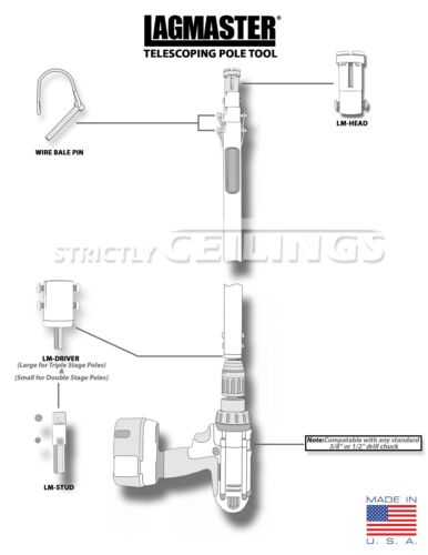 LAGMASTER 6/'-18/' extension pole LM-18 Install fasteners electrical hvac ceilings