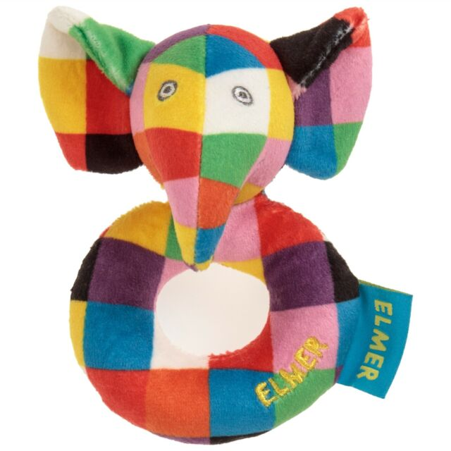Rainbow Designs ELMER THE ELEPHANT SOFT TOY RATTLE Baby Toys Activities BNIP