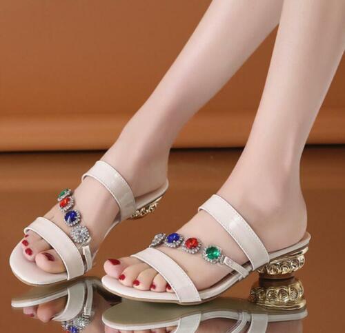 Casual Party Sandals Lady/'s slipper shoes rhinestones slingbacks low kitten heel