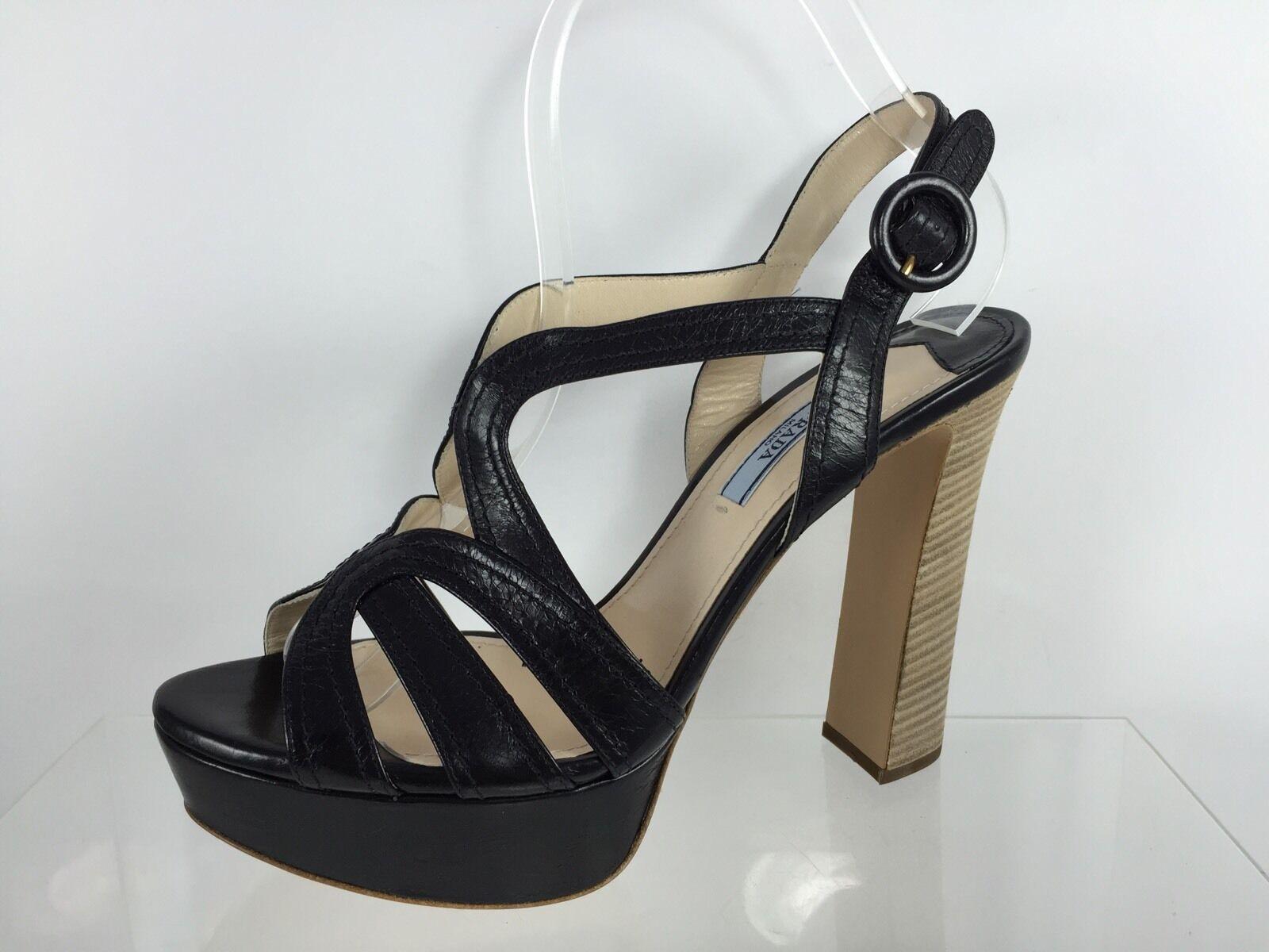 Prada Sandalias de cuero negro de mujer 38.5 38.5 38.5  lo último