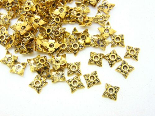 100 Pcs Golden Tibetan Silver Small 6mm Bead Caps Jewellery Craft Findings Y150