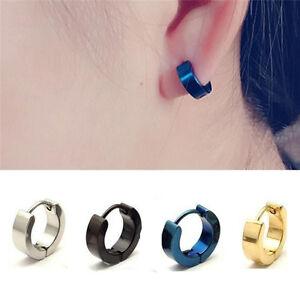 1 Pair PUNK Men Women Hoop Ear Stud Stainless Steel Earring Hoop Piercing  LJ