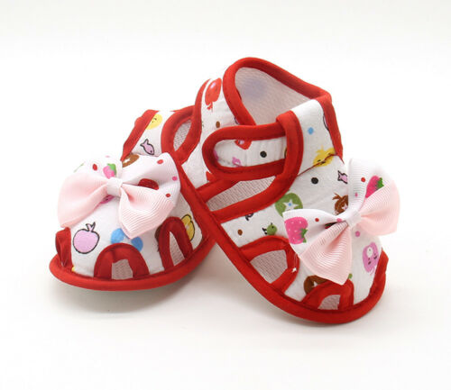 Toddler Newborn Baby Girl Sandals Summer Bow Soft Crib Shoes Anti-slip Prewalker