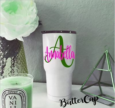 Personalized Name Initial Monogram Vinyl Decal For Your Cups Tumblers Ramblers