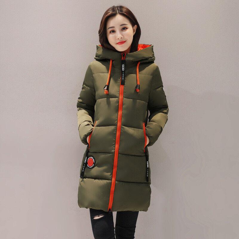 Veste Duvet à Capuche Manteau Confortable Chaud Long Vert Orange L 44 46