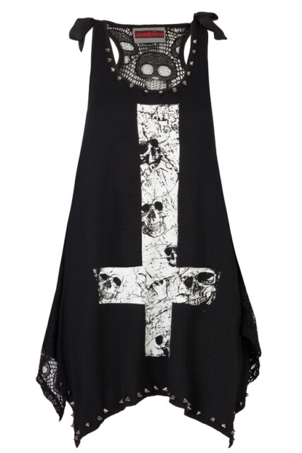 JAWBREAKER CROSS TOP GOTHIC PUNK METAL STUDS LACE VEST T SHIRT