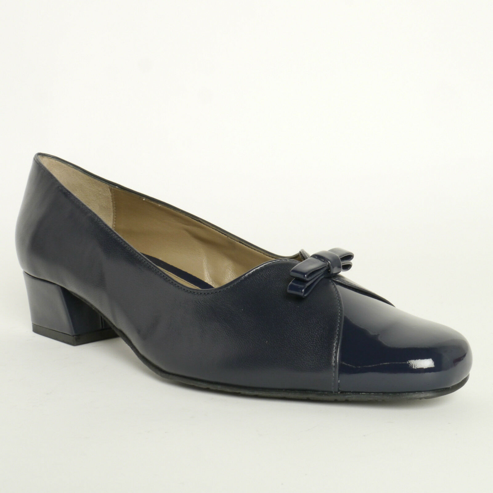 Van Dal Shoes Daybreak Court Shoes In Navy With Patent Toe Detail RRP £70