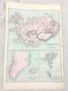 1892 Antik Map Of Island Greenland / Faeroe Inseln 19th Jahrhundert G W Bacon