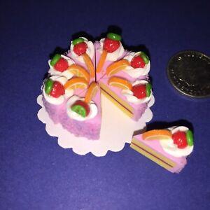 DOLLHOUSE-Mini-Food-PINK-STRAWBERRY-ORANGE-ICED-CAKE-8-x-SLICES-BARBIE-PARTY