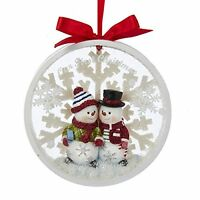 Kurt Adler Snowman Couple Our 1st Christmas Together Disc Ornament - C8890, New, on sale