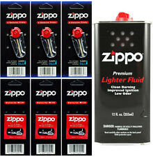 12 Ounce Fuel Fluid & 3 Packs Flint (18 Flint) & 3 Wicks for Zippo Lighters