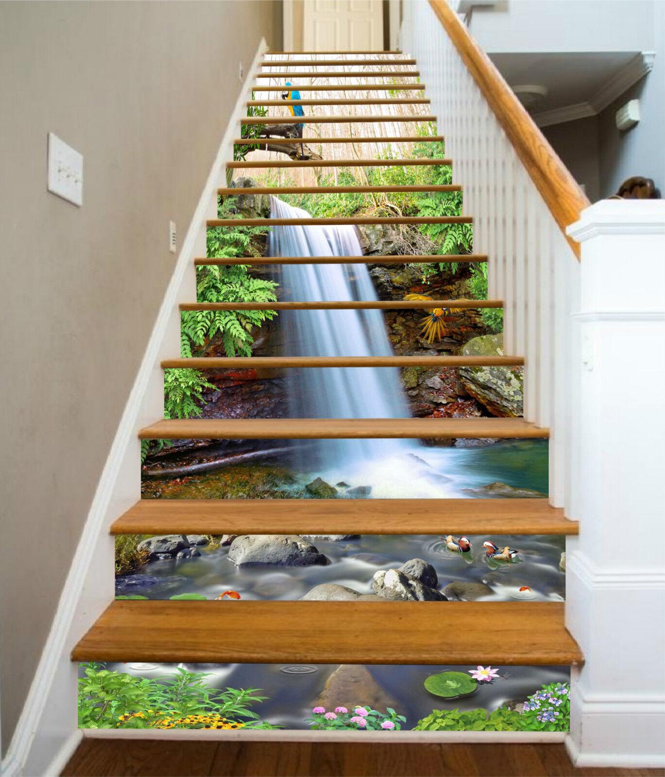 3D Wald Bach 3657 Stair Risers Dekoration Fototapete Vinyl Aufkleber Tapete DE