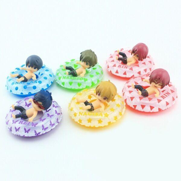 6X JP Anime Free! Iwatobi Swim Club With Swimming Ring 4.5cm Figure No Box Set