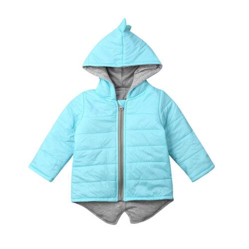 US Kids Baby Boy Girl Winter Hoodies Dinosaur Zip Hooded Jacket Coat Windbreaker