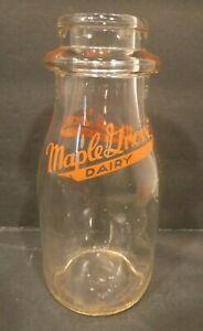 Vintage-Maple-Grove-Dairy-Milk-Bottle-Round-One-Half-Pint-Bottle-Grand-Rapids-MI