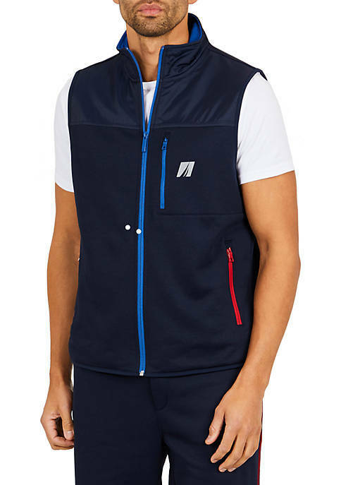 Nautica, Zip-Front Vest, Classic Fit, Sporty Athletic, Navy Größe Large