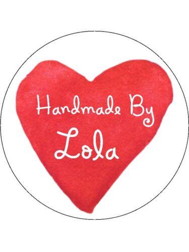 Pegatinas personalizado hecho a mano por las etiquetas Varios Tamaños cualquier nombre Wibbly corazón H15