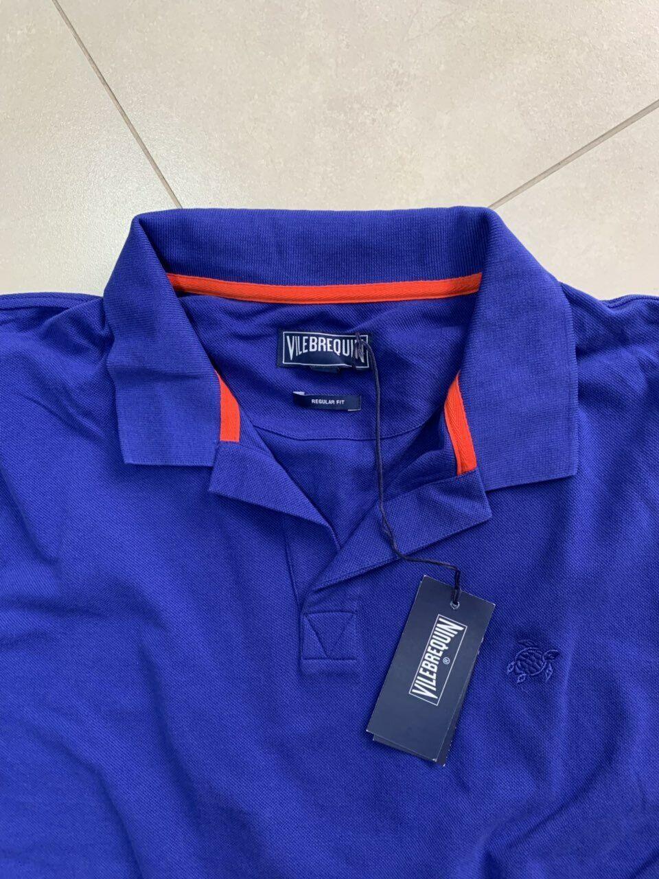 9f1cd5c9 Vilebrequin Men T-shirt Size M Cotton Pique Polo Solid color Neptune bluee