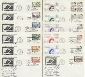 1967 #454/465B Set of 12 QEII Centennial FDCs, Rosecraft Cachets, Ottawa