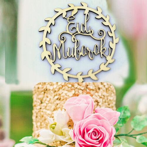Wood Party Cake Topper Wooden Eid Mubarak Ramadan festival Decoration Craft VQ