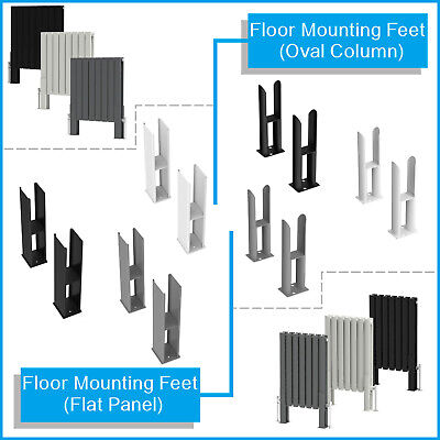 Floor Mounting Feet Support Legs Kits for Oval Flat Column Designer Radiators