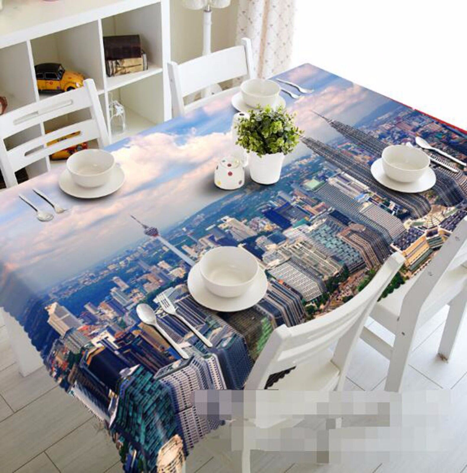 3D Sky City 62 Tablecloth Table Cover Cloth Birthday Party AJ WALLPAPER UK Lemon