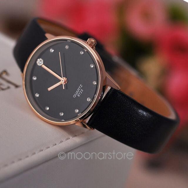 Women Elegant PU Leather Band Crystal Diamond Quartz Wrist Watch for Xmas Gift