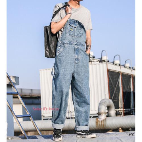 New Mens Loose Denim Overalls Bib Suspenders Pants Jeans Jumpsuit Romper Vintage