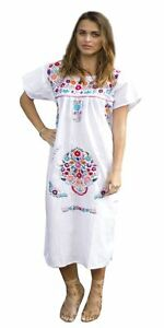 294f210fa368d Image is loading WHITE-Embroidered-Mexican-Dress-Vintage-Tunic-Peasant -S-M-L-