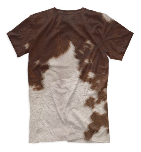 Bull skin t-shirt wild animal fur bright nature print cow leather style tee