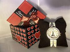 Señoras Girl Torre Eiffel impresión Reloj Set de regalo de Navidad Caja newyr Regalo Joyas