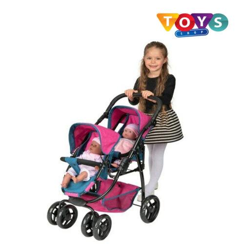 Le Ragazze Ella TWIN Toy Doll Passeggino Buggy Passeggino Denim Blu e Rosa Nuovo Regno Unito