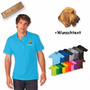 Bloodhound Wunschtext Bestickt Baumwolle Poloshirt Shirt Stickerei wSI77q