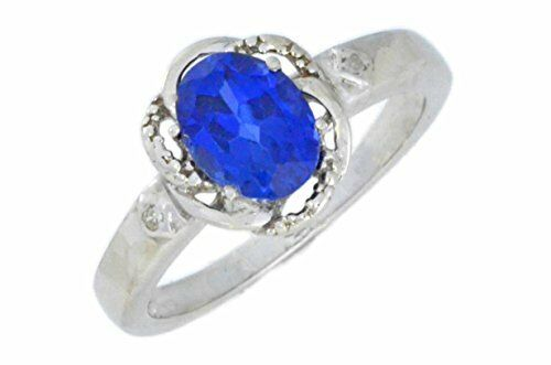 1.5 Ct Blue Sapphire /& Diamond Oval Ring .925 Sterling Silver