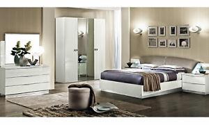 Details zu Modernes Schlafzimmer Weiß Hochglanz Komplett Set 6-Teilig  Italienische Möbel