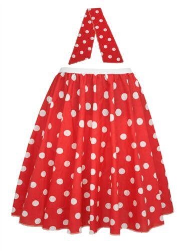 Ladies 22 Red & White Polka Dot Rock & Roll Skirt & Necktie Fancy Dress
