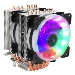 WISENOVO-6-Heat-Pipes-2-CPU-Cooler-12V-3Pin-Colorful-Lights-Air-Cooling-Fan-MS
