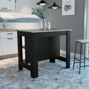 Tuhome Furniture Cala Engineered Wood Kitchen Island In Espresso And Light Oak Ebay