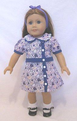 "1930/'s Green Floral Birthday Dress Fits 18/"" American Girl Kit Doll NIP"