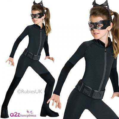 CATWOMAN Bambino Ragazze LICENSED Fancy Dress Costume Batman Cavaliere Oscuro 3-13 anni