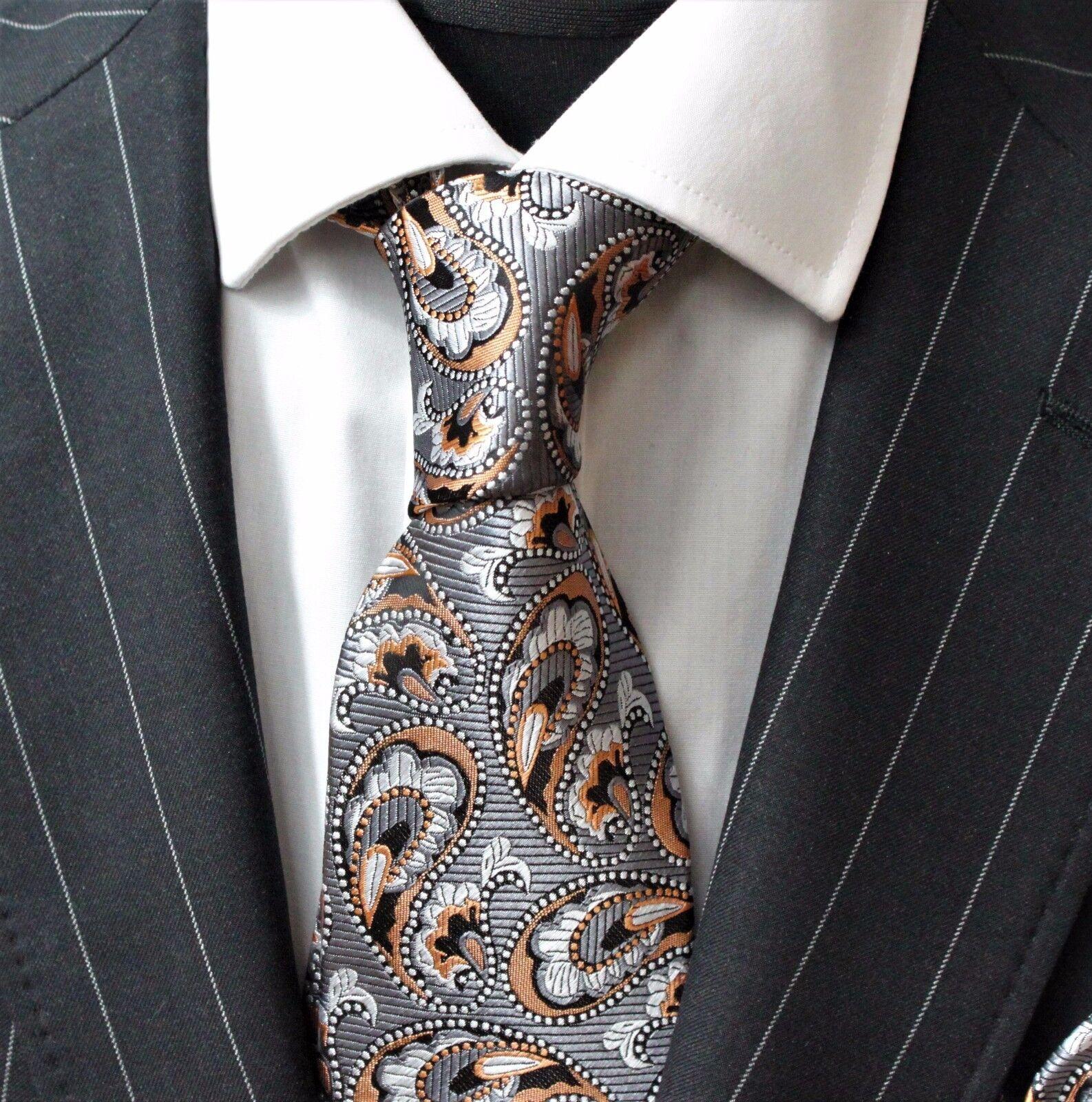 Tie Neck tie with Handkerchief Silver Black & Metallic Orange