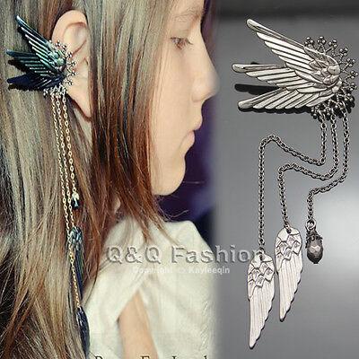 Chic Black Fairy Elf Pixie Angel Wing Long Chain Ear Cuff Earring Fancy Dress