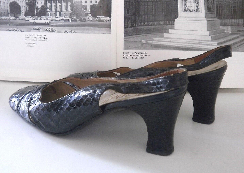 WALTER HAAG made Damen Pumps Sandalen 60er made HAAG Germany TRUE VINTAGE slingpumps nero c67a9a
