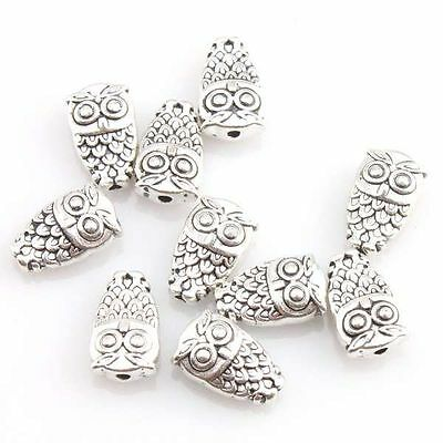 100pcs Zinc Alloy Owl Shape Spacer BeadsAntique Silvery Jewelry Beading Craft L