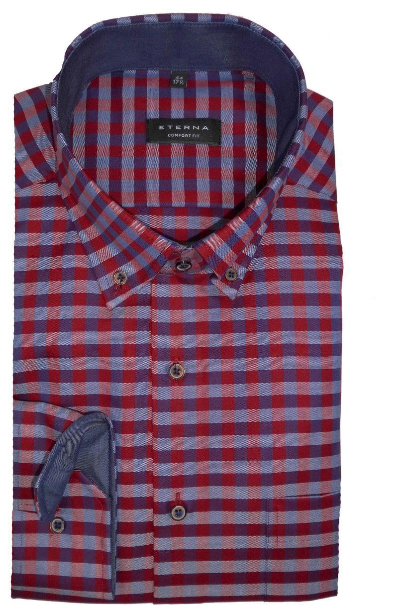 Eterna camisa Comfort fit rojo  cuadros 2042 58 e14l extra largo brazo de 68 cm  promocionales de incentivo