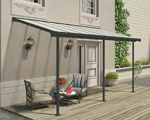 Palram Sierra Grey Patio Cover Canopy Porch Door Pergola